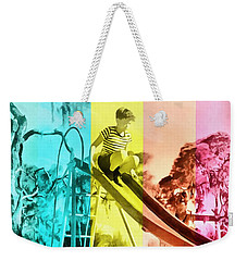 Weekender Tote Bag featuring the painting Sarasota Series Trailer Park Playground by Edward Fielding