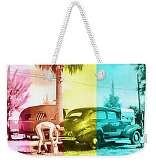 Weekender Tote Bag featuring the painting Sarasota Series Wash The Car by Edward Fielding