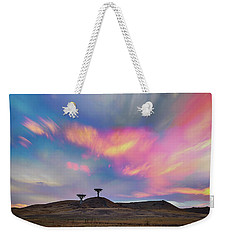 Weekender Tote Bag featuring the photograph Satellite Dishes Quiet Communications To The Skies by James BO Insogna