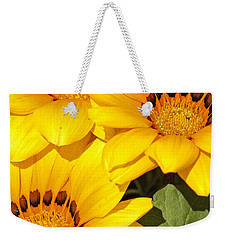 Satin Yellow Florals Weekender Tote Bag by E Faithe Lester