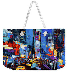 Saturday Night In Times Square Weekender Tote Bag by Elise Palmigiani