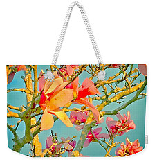 Weekender Tote Bag featuring the photograph Saucer Magnolia by Angela Annas