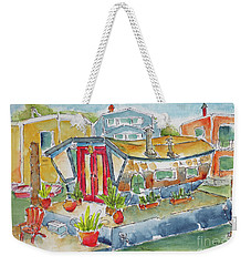 Weekender Tote Bag featuring the painting Sausalito Houseboat by Pat Katz