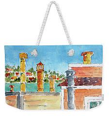 Weekender Tote Bag featuring the painting Sausalito Smokestacks by Pat Katz