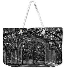 Weekender Tote Bag featuring the photograph Savannah's Wormsloe Plantation Gate Bw Live Oak Alley Art by Reid Callaway