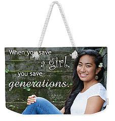 Save A Girl Weekender Tote Bag