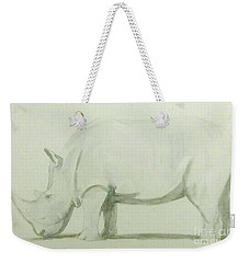 Weekender Tote Bag featuring the painting Save A Rhino by Stacy C Bottoms