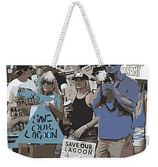Weekender Tote Bag featuring the digital art Save Our Lagoon by Megan Dirsa-DuBois