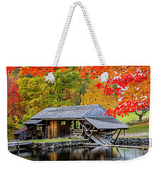 Sawmill Reflection, Autumn In New Hampshire Weekender Tote Bag