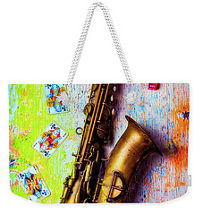 Sax And Old Playing Cards Weekender Tote Bag by Garry Gay