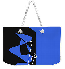 Weekender Tote Bag featuring the digital art Saxophone In Blue by Jazz DaBri