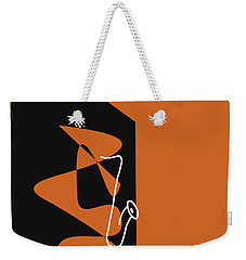 Weekender Tote Bag featuring the digital art Saxophone In Orange by Jazz DaBri