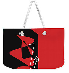 Weekender Tote Bag featuring the digital art Saxophone In Red by Jazz DaBri