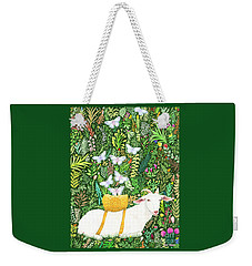 Weekender Tote Bag featuring the painting Scapegoat Healing by Lise Winne