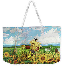 Scare Crow And Silo Farm Weekender Tote Bag by Bonnie Siracusa