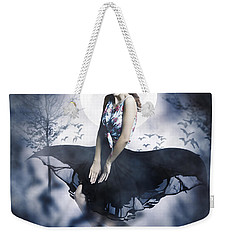 Weekender Tote Bag featuring the photograph Scared Young Woman In Eerie Halloween Forest  by Jorgo Photography - Wall Art Gallery