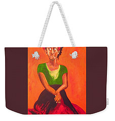 Weekender Tote Bag featuring the painting Scarlet by Esther Newman-Cohen