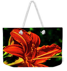 Weekender Tote Bag featuring the photograph Scarlet Flower  by Joseph Hollingsworth