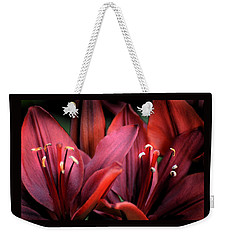 Weekender Tote Bag featuring the photograph Scarlet Lilies by Kathleen Stephens
