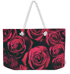 Weekender Tote Bag featuring the photograph Scarlet Roses by Jessica Jenney