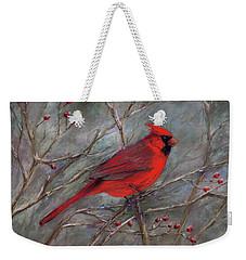 Weekender Tote Bag featuring the pastel Scarlet Sentinel by Vikki Bouffard