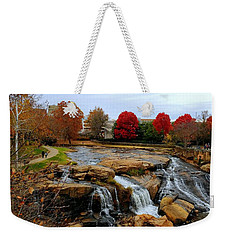 Scene From The Falls Park Bridge In Greenville, Sc Weekender Tote Bag by Kathy Barney