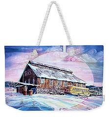 School Bus And Barn Weekender Tote Bag