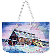 School Bus And Barn Weekender Tote Bag