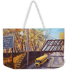School Bus On Linden Street Weekender Tote Bag by Rita Brown