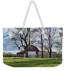 Weekender Tote Bag featuring the photograph Schooler Road Barn by Cricket Hackmann