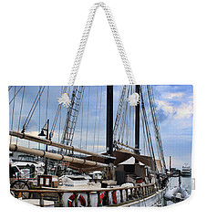 Schooner On The Dock Weekender Tote Bag