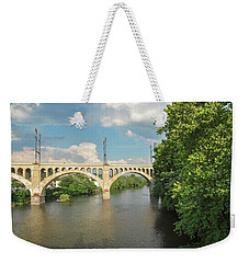 Schuylkill River At The Manayunk Bridge - Philadelphia Weekender Tote Bag by Bill Cannon