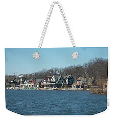 Weekender Tote Bag featuring the photograph Schuylkill River - Boathouse Row In Philadelphia by Bill Cannon