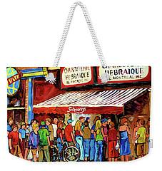 Schwartzs Deli Lineup Weekender Tote Bag by Carole Spandau