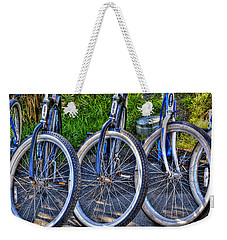 Weekender Tote Bag featuring the photograph Schwinns by Paul Wear