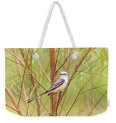 Weekender Tote Bag featuring the photograph Scissortail In Scrub by Robert Frederick