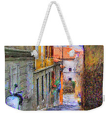 Weekender Tote Bag featuring the digital art Scooter Alley After Rain by Kai Saarto
