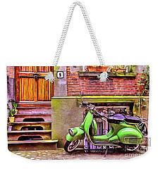 Weekender Tote Bag featuring the painting Scooter Parking Only by Edward Fielding