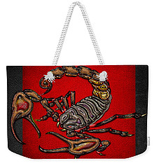 Scorpion On Red And Black  Weekender Tote Bag by Serge Averbukh