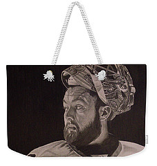 Weekender Tote Bag featuring the drawing Scott Darling Portrait by Melissa Goodrich