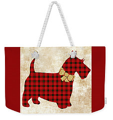 Weekender Tote Bag featuring the mixed media Scottie Dog Plaid by Christina Rollo