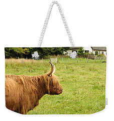 Weekender Tote Bag featuring the photograph Scottish Cattle Farm by Christi Kraft