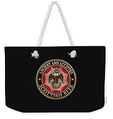 Scottish Rite Double-headed Eagle On Black Leather Weekender Tote Bag
