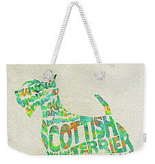 Weekender Tote Bag featuring the painting Scottish Terrier Dog Watercolor Painting / Typographic Art by Ayse and Deniz
