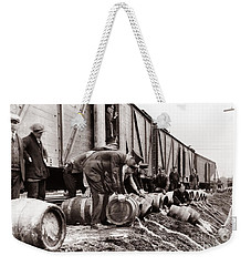 Scranton Police Dumping Beer During Prohibition  Scranton Pa 1920 To 1933 Weekender Tote Bag