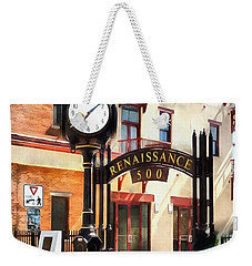 Weekender Tote Bag featuring the photograph Scranton - Street Clock - Renaissance 500 Lackawanna Ave by Janine Riley