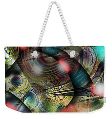 Weekender Tote Bag featuring the digital art Screaming Spirals by Yul Olaivar