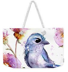 Weekender Tote Bag featuring the painting Scrub Jay In The Wildflowers by Dawn Derman