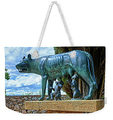 Weekender Tote Bag featuring the photograph Sculpture Of The Capitoline Wolf With Romulus And Remus by Eduardo Jose Accorinti