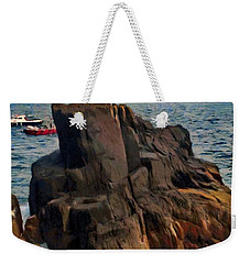 Weekender Tote Bag featuring the painting Sea And Stone by Jeff Kolker